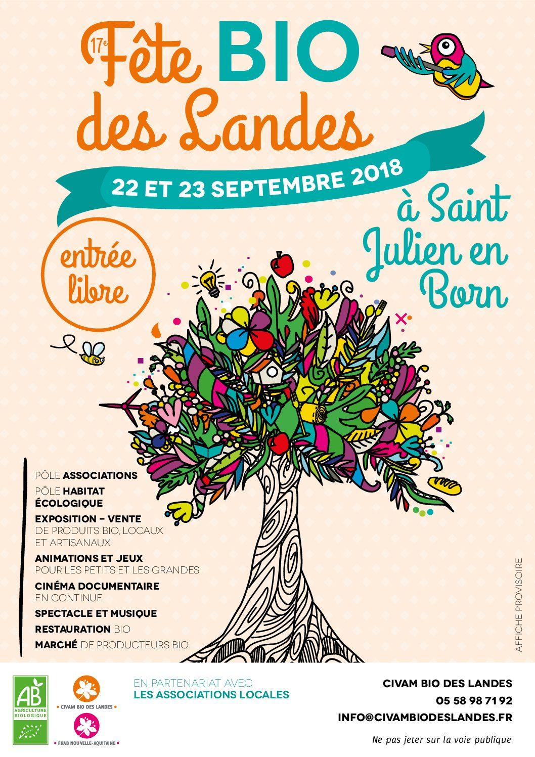 Fête BIO des Landes le Dimanche 23  Septembre 2018 à Saint Julien en Born (Landes)