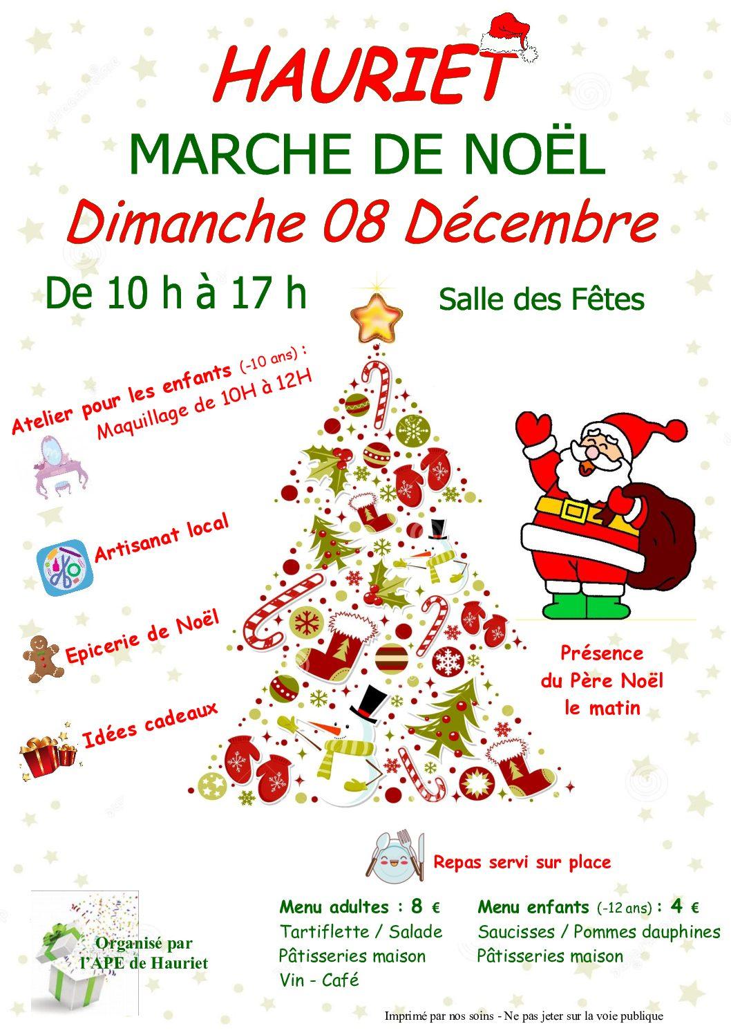 Marché de Noël à Hauriet (Landes) le Dimanche 8 Décembre 2019